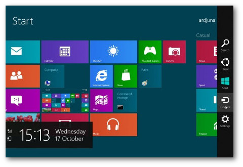 Desactivar la barra de encantos en Windows 8.1